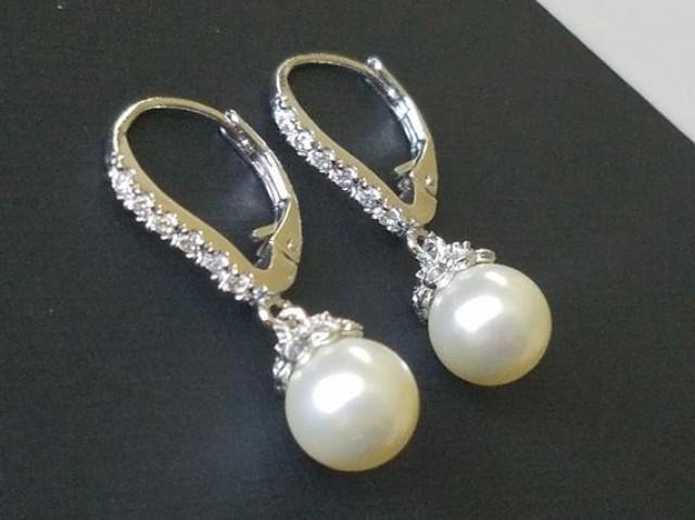 wedding photo - Pearl Bridal Earrings, Ivory Pearl Drop Earrings, Swarovski Pearl Silver Earrings, Leverback Pearl Earrings, Bridal Jewelry, Wedding Jewelry