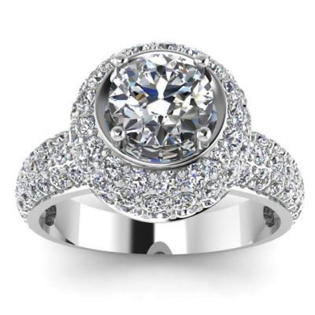 wedding photo - 1.50 ct Moissanite halo Ring 925 Sterling Silver