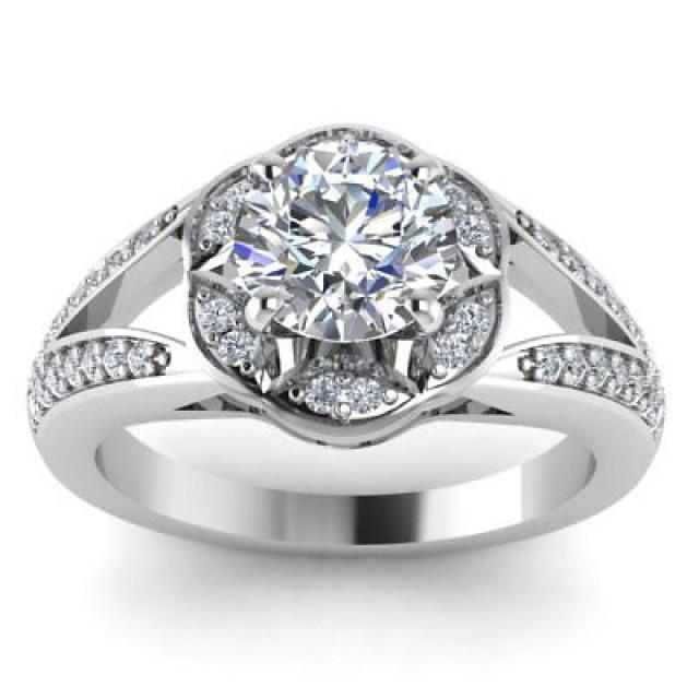 wedding photo - 1.64 ct Round cut White moissanite 925 silver halo split shank wedding ring - Buy Best Quality Moissanite in India