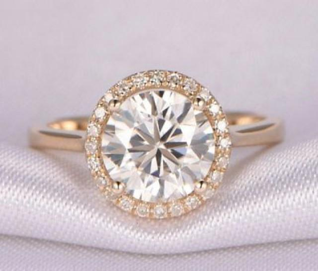 wedding photo - 1.65 ct Round White moissanite halo yellow gold plated wedding ring 925 silver - Buy Best Quality Moissanite in India