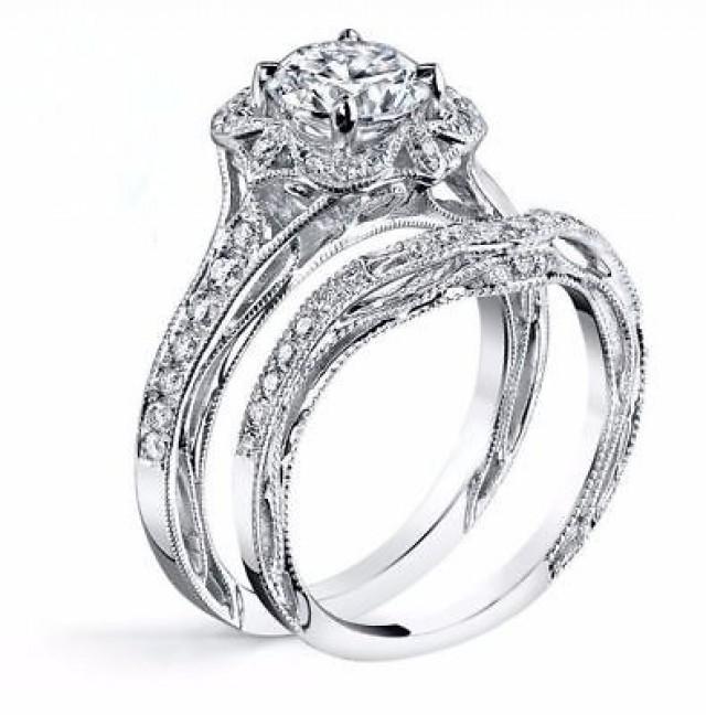 wedding photo - 1.66 Ct Round cut White Moissanite Designer Bridle Set Wedding Ring 925 Silver - Buy Best Quality Moissanite in India