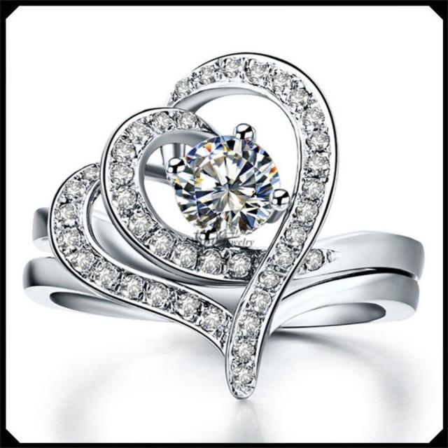 wedding photo - 1.67 Ct Round cut white moissanite heart design wedding engagement ring silver - Buy Best Quality Moissanite in India