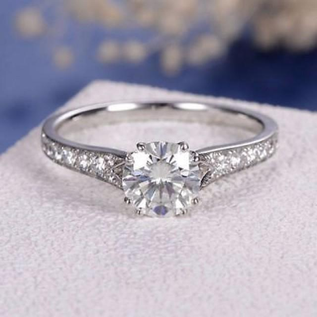 wedding photo - 1.68 Ct Round Cut White Moissanite Classic Double Prong Wedding Ring 925 Silver - Buy Best Quality Moissanite in India