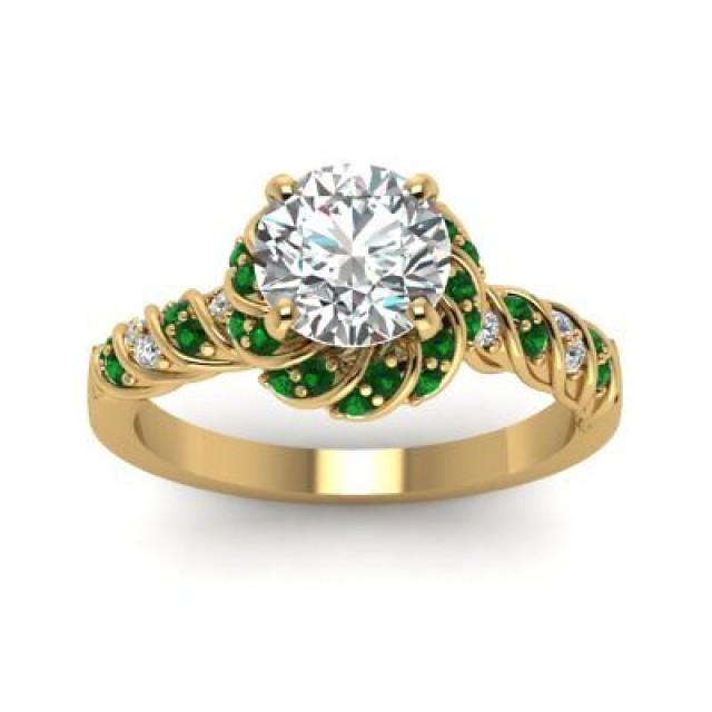 wedding photo - 1.68 ct Round White moissanite 925 silver yellow gold plated wedding Rings - Buy Best Quality Moissanite in India