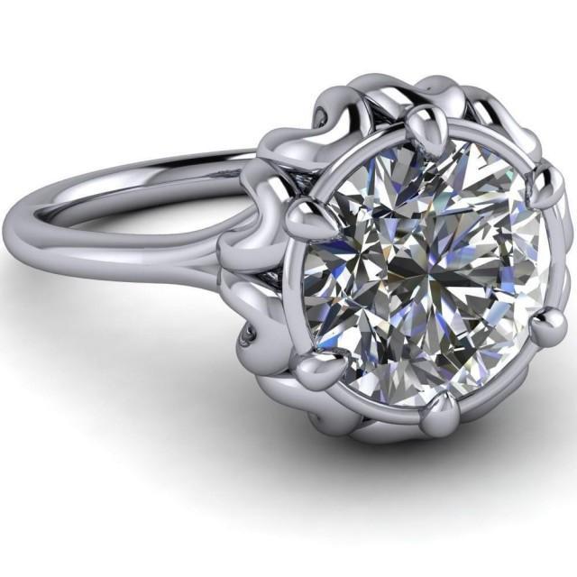 wedding photo - 1.75 Ct Round cut white moissanite Designer wedding engagement ring 925 silver - Buy Best Quality Moissanite in India