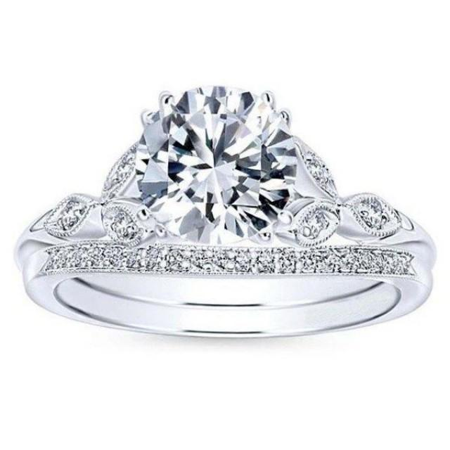 wedding photo - 1.75 ct Round cut White VVS1/2 moissanite halo swirl wedding ring 925 silver - Buy Best Quality Moissanite in India