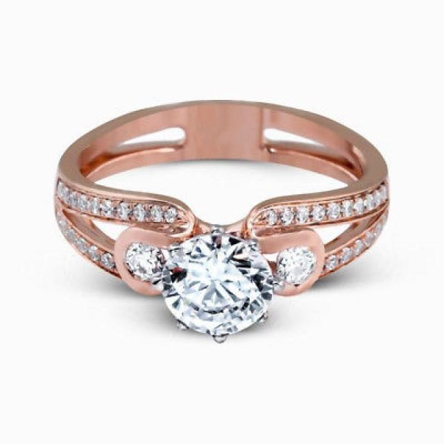 wedding photo - 1.75 Ct Round White Moissanite Split Shank Wedding Ring 925 Sterling Silver - Buy Best Quality Moissanite in India