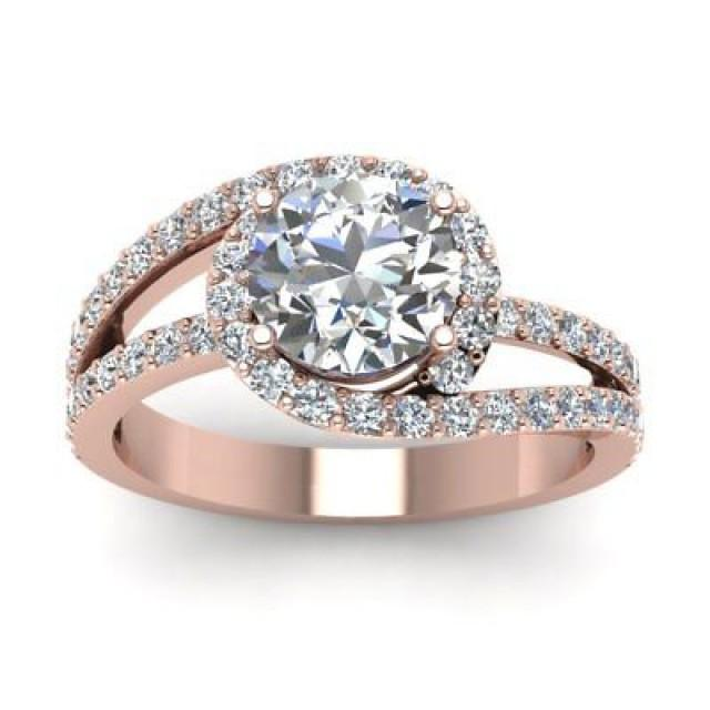 wedding photo - 1.75 ct Round white moissanite swirl rose gold plated wedding ring 925 silver - Buy Best Quality Moissanite in India