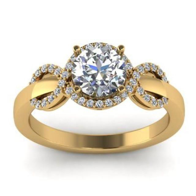 wedding photo - 1.75 ct White Round cut moissanite Yellow gold plated wedding Ring 925 silver - Buy Best Quality Moissanite in India