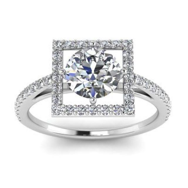 wedding photo - 1.76 ct Round White moissanite box setting wedding Ring in 925 Sterling Silver - Buy Best Quality Moissanite in India