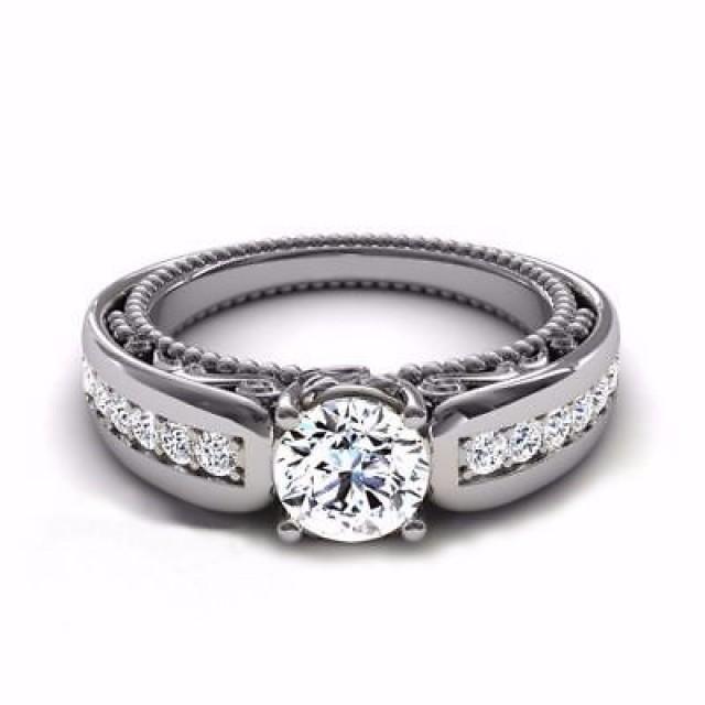 wedding photo - Buy 1.86ct Round White Moissanite Unique Anniversary Ring