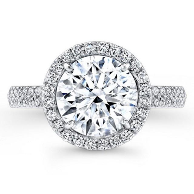wedding photo - Buy 2 Ct Moissanite Halo Anniversary/ Engagement Ring