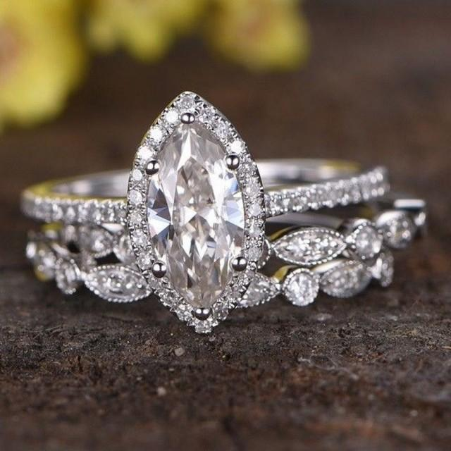 wedding photo - 2.60 Ct White Moissanite Marquise Cut Classic Wedding Ring For online