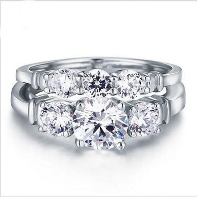 wedding photo - 925 sterling silver three stone wedding set 3.25 ct round white moissanite - Buy Best Quality Moissanite in India