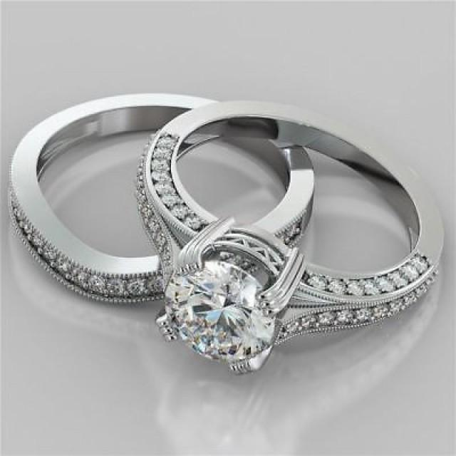 wedding photo - 925 sterling silver wedding Set 2.03 ct white round brilliant cut moissanite - Buy Best Quality Moissanite in India