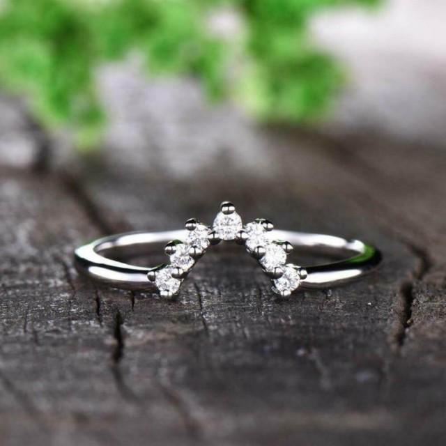 wedding photo - Buy Now Unique 0.21ct Crown Moissanite Eternity Band