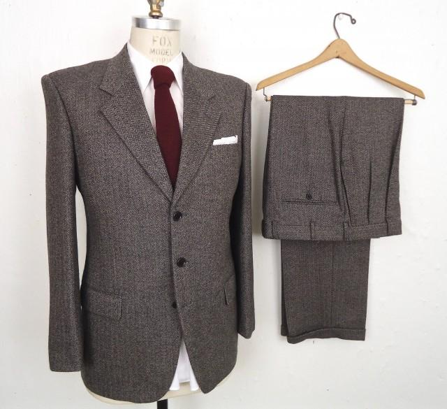Valentino Two-Piece Tweed Suit /  gray herringbone 3-2 roll ivy league suit jacket & pants / grey wool wedding suit / men's medium