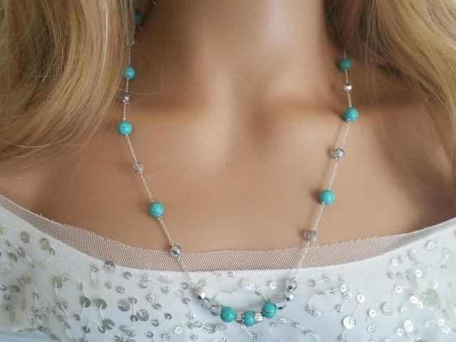 wedding photo - Turquoise Silver Necklace, Turquoise Grey Crystal Necklace, Turquoise Long Necklace, Everyday Women Necklace, Wedding Party Gift Jewelry