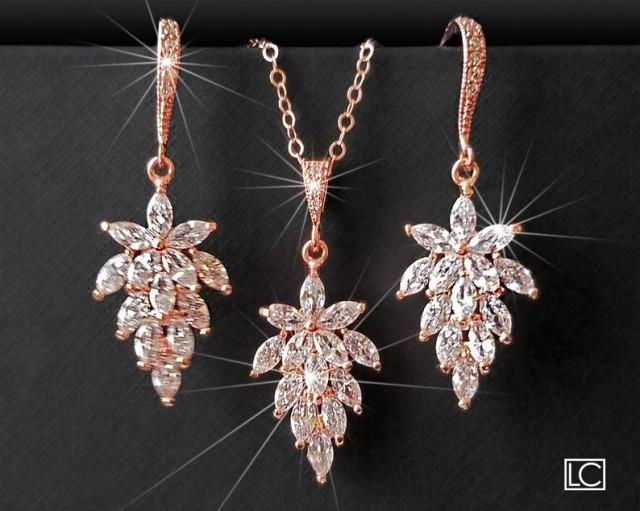 wedding photo - Rose Gold Cubic Zirconia Jewelry Set, Cluster Leaf Crystal Earrings&Necklace Set, Floral Crystal Bridal Jewelry, Rose Gold Wedding Jewelry