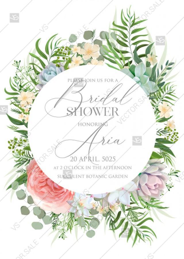 wedding photo - Greenery wedding invitation set PDF 5x7 in PDF maker