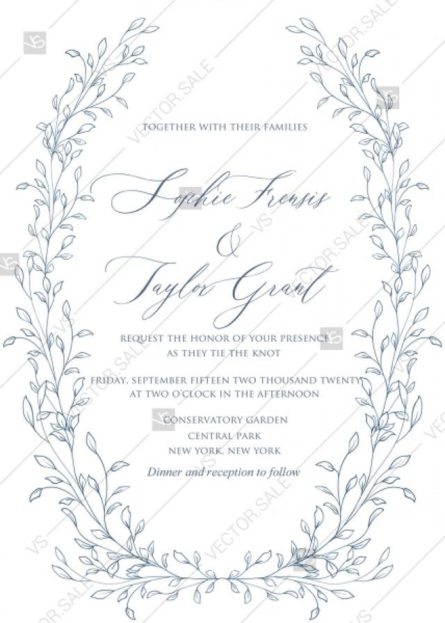 wedding photo - Laurel wreath herbal letterpress design wedding invitation set indigo ink PDF 5x7 in wedding invitation maker