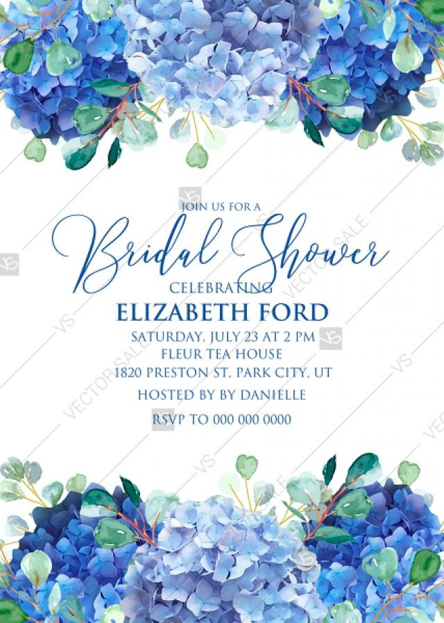 wedding photo - Wedding invitation set watercolor blue hydrangea eucalyptus greenery PDF 5x7 in customizable template