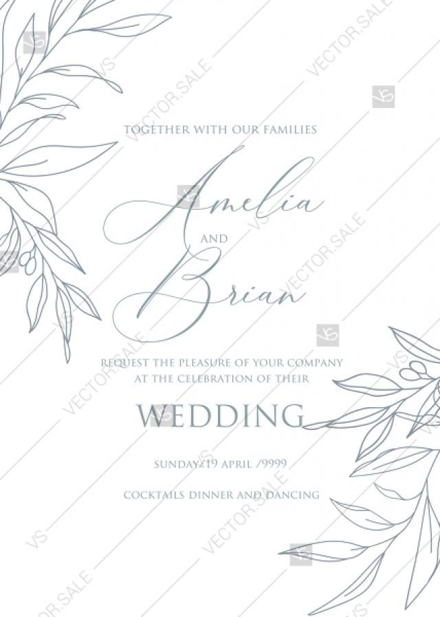 wedding photo - Online Editor - Minimalistic olive eucalyptus leaves brunch line art trend ink wedding invitation set PDF 5x7 in