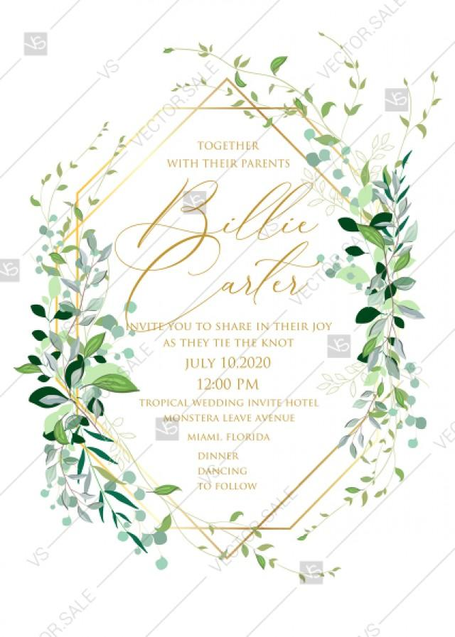 wedding photo - Mixed Greenery herbs grass customizable wedding Invitation set PDF5x7 in