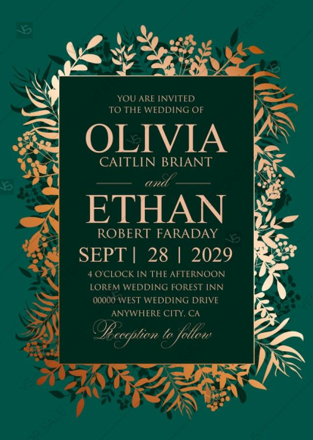 wedding photo - Greenery herbal gold foliage emerald green wedding invitation set card template PDF 5x7 in