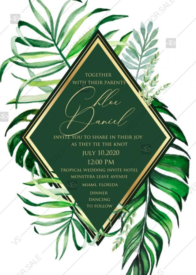 wedding photo - Tropical leaves palm flower wedding invitation template PDF 5x7 online maker