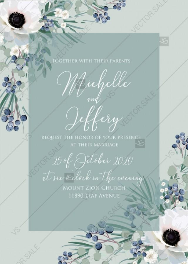 wedding photo - Wedding invitation set white anemone greenery menthol greenery berry PDF 5x7 in wedding invitation maker
