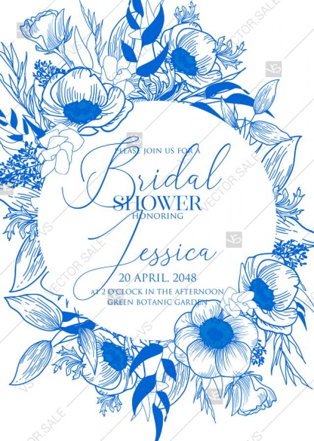 wedding photo - Classic blue anemone floral wedding invitation set bridal shower PDF 5x7 in edit online