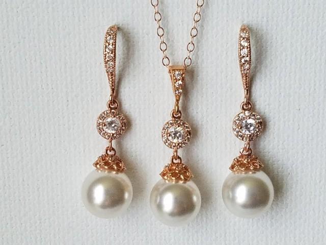 wedding photo - Pearl Rose Gold Bridal Jewelry Set, Swarovski White Pearl Earrings&Necklace Set, Wedding Rose Gold Jewelry, Bridesmaids Pink Gold Jewelry