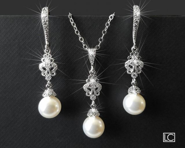 wedding photo - Pearl Bridal Jewelry Set, White Pearl Earrings&Necklace Set, Swarovski Pearl Silver Jewelry Set, Wedding Pearl Jewelry, Bridesmaids Jewelry