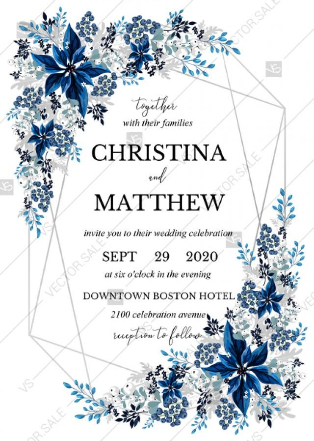 wedding photo - Wedding invitation set poinsettia navy blue winter flower berry PDF 5x7 in invitation maker