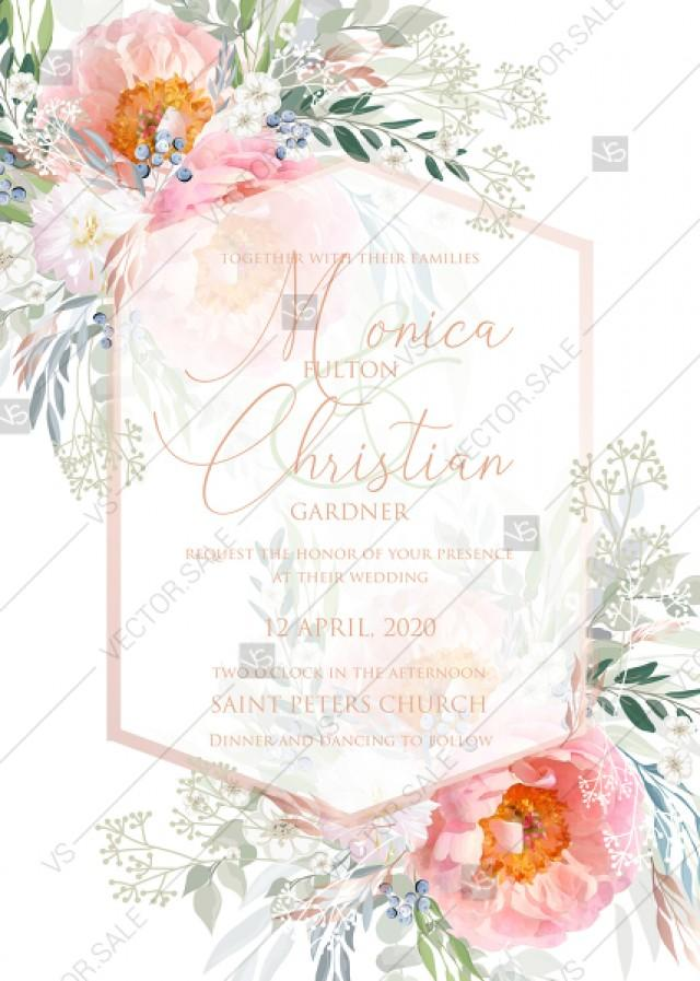 wedding photo - Pink peony wedding invitation card template PDF 5x7 in invitation editor