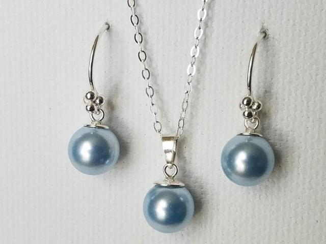 wedding photo - Blue Pearl Jewelry Set, Swarovski Light Blue Pearl Silver Set, Bridal Pearl Earrings&Necklace Set, Pearl Drop Jewelry Set, Something Blue