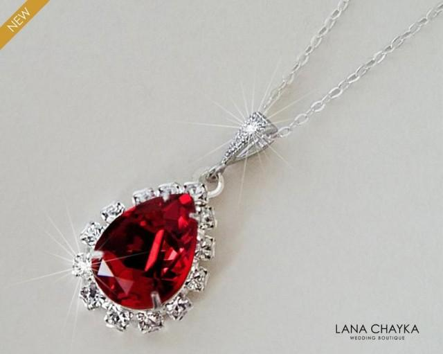 wedding photo - Red Crystal Halo Necklace, Swarovski Siam Red Silver Pendant, Wedding Red Teardrop Necklace, Dark Red Crystal Jewelry, Bridal Red Necklace