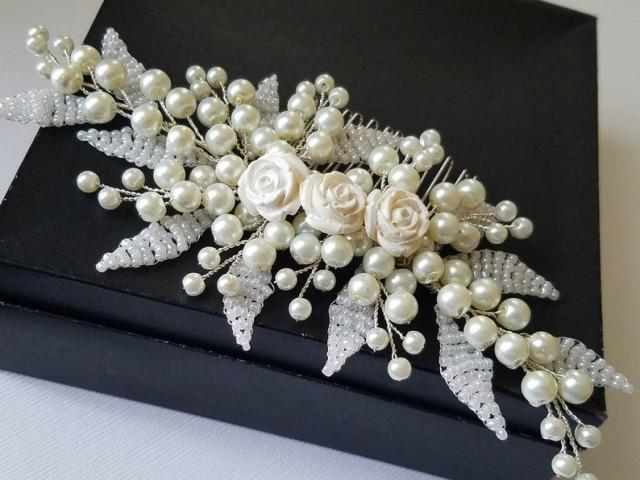 wedding photo - Pearl Bridal Hair Comb, Wedding Ivory Silver Headpiece, Pearl Hair Jewelry, Floral Hair Piece, Wedding Pearl Comb, Bridal Hair Accessories