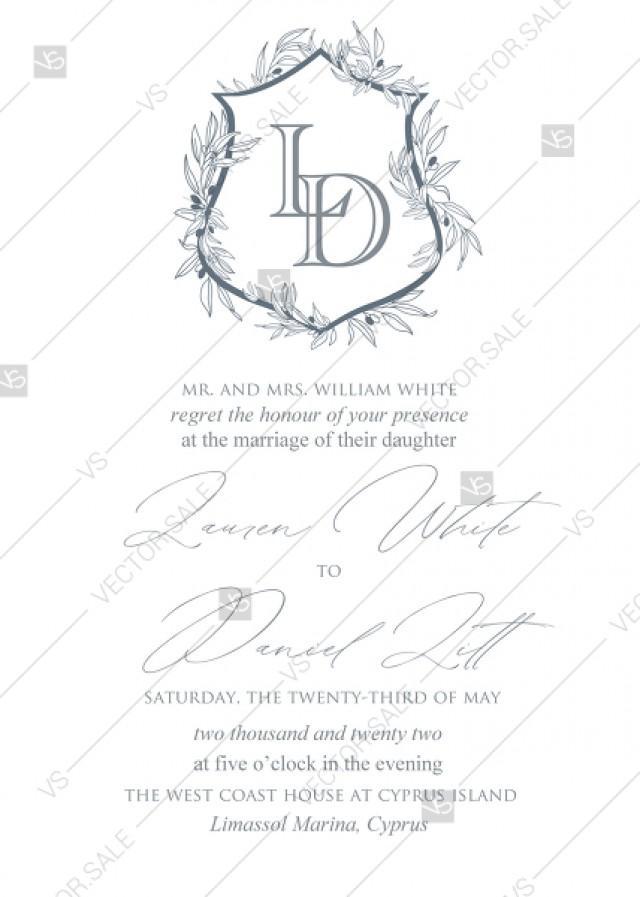 wedding photo - Monogram bohemian natural ornate glam letterpress wedding invitation set PDF 5x7 in invitation maker