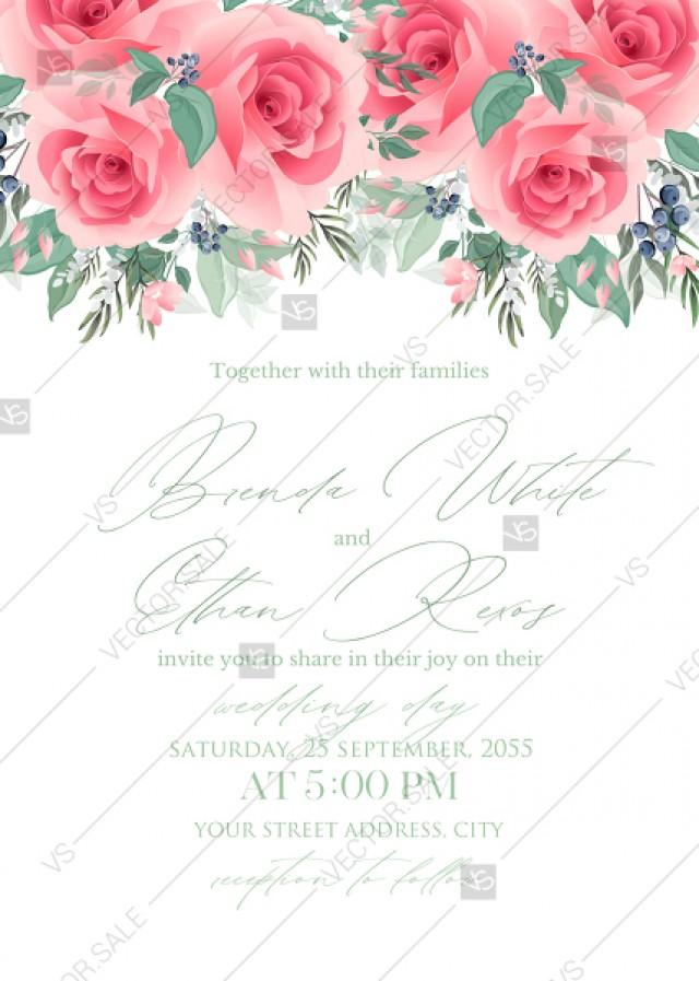 wedding photo - Pink rose wedding invitation PDF5x7 in