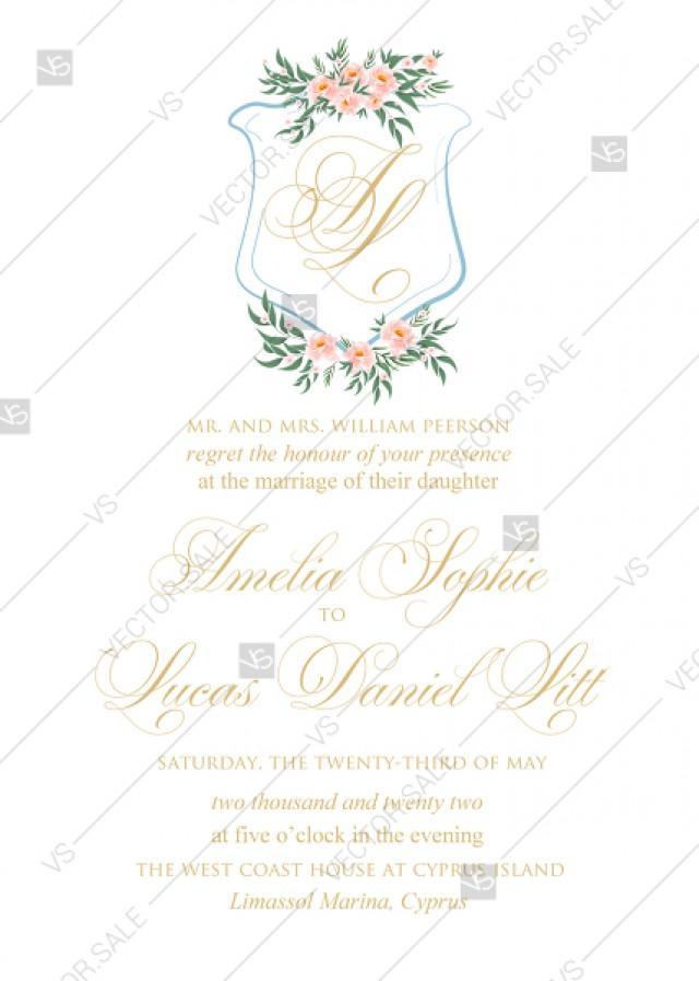 wedding photo - Monogram pink peony bohemian wedding invitation set PDF 5x7 in