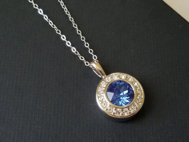 wedding photo - Sapphire Silver Necklace, Swarovski Sapphire Halo Pendant, Blue Crystal Wedding Necklace Sapphire Jewelry Blue Round Pendant Bridal Necklace