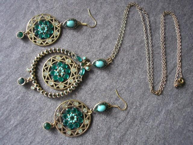 wedding photo - Long Green Indian Bridal Pendant And Earrings Set