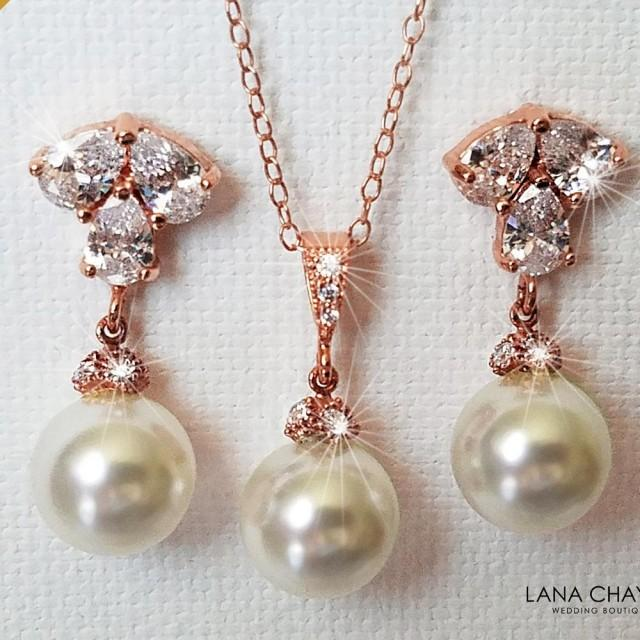 wedding photo - Rose Gold Pearl Jewelry Set, Swarovski White Pearl Drop Earrings&Necklace Set, Rose Gold Wedding Jewelry Set, Pink Gold Pearl Bridal Jewelry