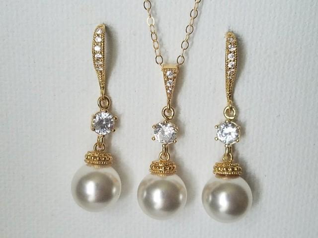wedding photo - White Pearl Gold Bridal Set, Swarovski 10mm Pearl Earrings&Necklace Set, Pearl Chandelier Earrings, Pearl Pendant, Bridal Bridesmaid Jewelry