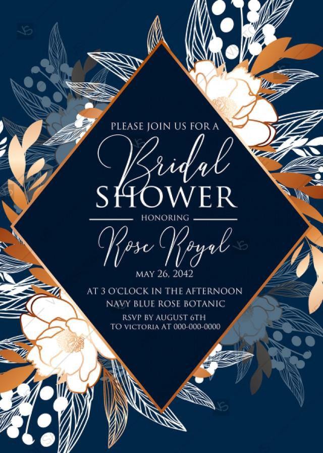 wedding photo - Peony foil gold navy classic blue background bridal shower wedding Invitation set PDF 5x7 in wedding invitation maker