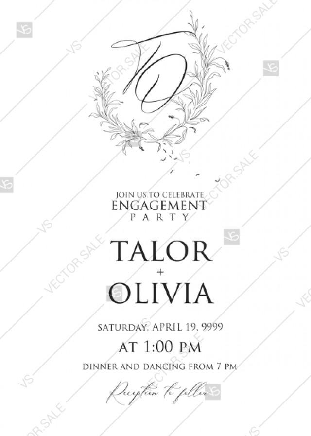 wedding photo - Minimalistic olive eucalyptus leaves brunch line art trend ink wedding engagement invitation set PDF 5x7 in edit template