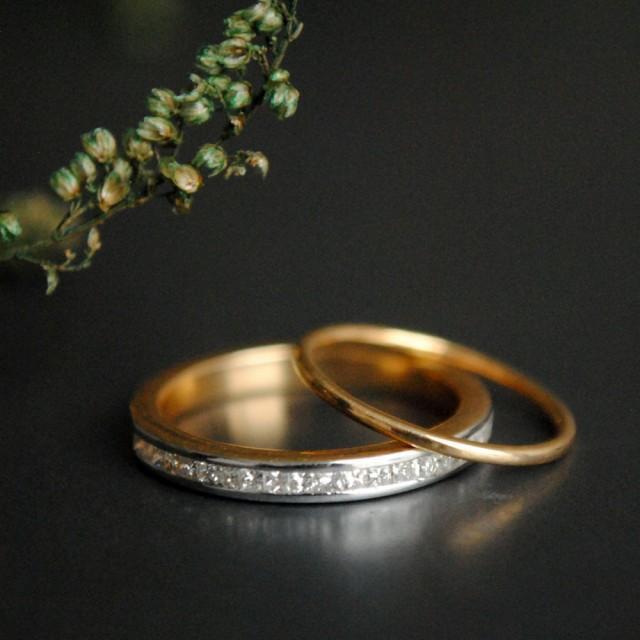 wedding photo - Wedding Ring Set. Princess Cut Diamond Channel Set Engagement Ring. Thin Stackable Gold Bridal Wedding Band. Half Eternity 14K Gold Band