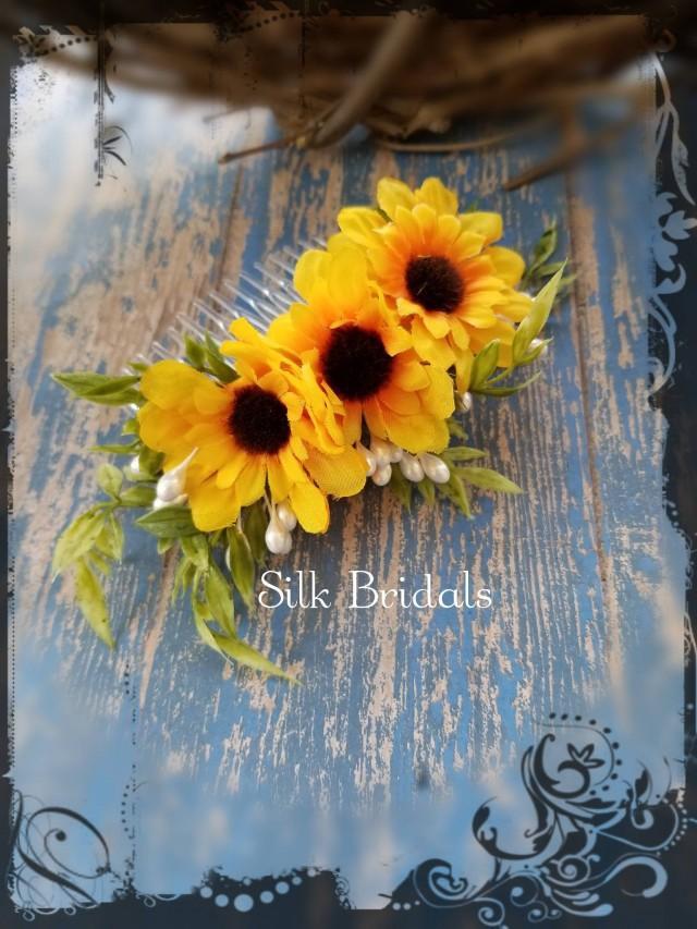 wedding photo - Silk mini sunflower hair comb bridal silk wedding flowers bridesmaid flower girl country rustic wedding accessory